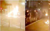 به آتش کشیده شدن خودروها و استقرار پلیس در حومه پاریس
